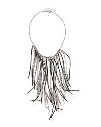 Fragments | Black Suede Fringe Drop Necklace | Lyst