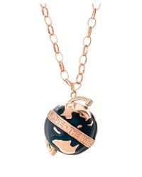 True Rocks | Metallic Deep Green And Rose Gold Spinning Globe Necklace | Lyst
