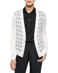 ATM | Black Knit Argyle Cardigan Sweater & Silk Half-Sleeve Jumpsuit | Lyst