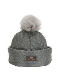 UGG | Gray Shearling Pompom Hat | Lyst