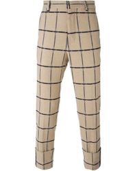 MSGM - Natural Checked Trousers for Men - Lyst
