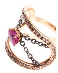 Nikos Koulis | Red Diamond, Ruby & Gold Ring | Lyst
