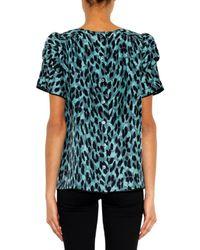 Marc Jacobs - Blue Leopard-print Silk Top - Lyst