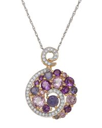 Lord & Taylor | 14k Yellow Gold Diamond Amethyst And Pink Amethyst Pendant | Lyst