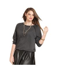 Soprano - Gray Plus Size Longsleeve Faux Leathertrim Top - Lyst