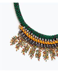Zara | Green Colored Stone Necklace | Lyst