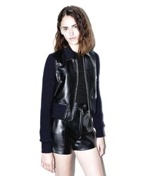 3.1 Phillip Lim | Black Leather Sweater-jacket | Lyst