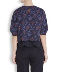 O'2nd - Blue Navy Floral Jacquard Top - Lyst