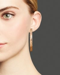 Roberto Coin - Metallic 18k Rose Gold Plated Sterling Silver Large Hoop Earrings - Lyst