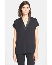 Vince - Black Leather Trim V-neck Top - Lyst