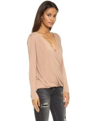 Lanston | Natural Surplice Long Sleeve Top | Lyst