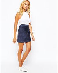 American Apparel - Blue Suede Mini Skirt - Lyst