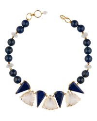 Bounkit | Black Lapis And Clear Quartz Necklace | Lyst