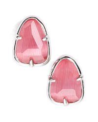 Kendra Scott - Pink 'hazel' Stud Earrings - Rhodium/ Rose - Lyst