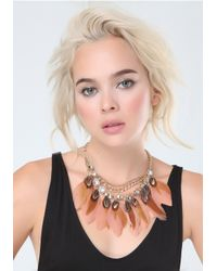 Bebe | Pink Crystal & Feather Necklace | Lyst