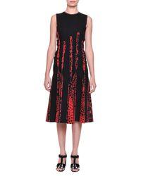 Bottega Veneta - Red Circle-print Silk Godet-pleated Dress - Lyst