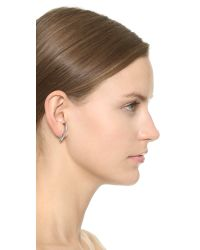 Vita Fede | Metallic Comma Crystal Earring - Silver/Clear | Lyst