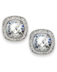 Swarovski - White Rhodium-plated Crystal Stud Earrings - Lyst