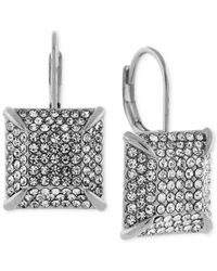 Vince Camuto - Metallic Light Rhodium-tone Pave Square Drop Earrings - Lyst