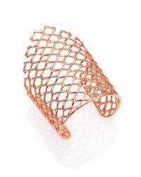 Alexis Bittar | Metallic Miss Havisham Liquid Asymmetrical Barbed Wire Cuff Bracelet/Rose Goldtone | Lyst