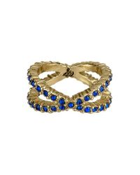 Sam Edelman | Blue Crystal Crossover Ring - Sapphire | Lyst