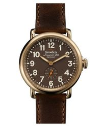 Shinola - Metallic 'the Runwell' Leather Strap Watch - Lyst