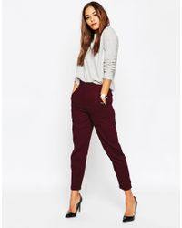 ASOS | Purple High Waisted Peg Trousers | Lyst