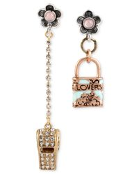 Betsey Johnson | Metallic Gold-tone Whistle And Lock Mismatch Drop Earrings | Lyst