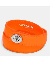 COACH | Orange C.O.A.C.H. Double Wrap Turnlock Bracelet | Lyst