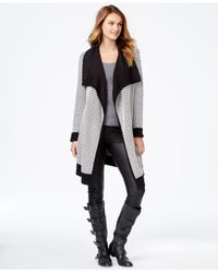 Kensie | Black Long-sleeve Honeycomb-knit Cardigan | Lyst