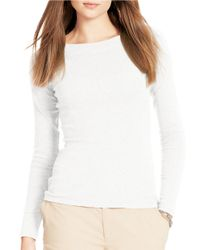 Lauren by Ralph Lauren | White Cotton Bateau Neck Shirt | Lyst