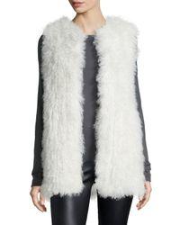 Diane von Furstenberg | White Carrie Mongolian-Fur Vest | Lyst