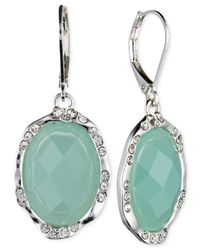 Jones New York | Green Silver-tone Oval Stone Drop Earrings | Lyst