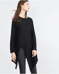 Zara | Black Pointed Hem Top | Lyst