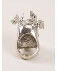 Alexander McQueen | Metallic Skull And Butterfly Cocktail Ring | Lyst