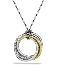 David Yurman - Metallic Crossover Pendant With Gold On Chain - Lyst