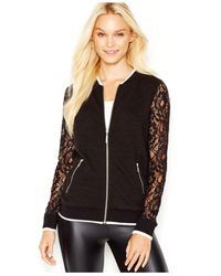 Kensie | Black Quilted Lace-sleeve Bomber Jacket | Lyst
