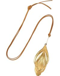 Aurelie Bidermann - Metallic Swan Feather Leather and Goldplated Necklace - Lyst