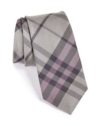 Burberry - Gray 'earl' Woven Silk Tie for Men - Lyst