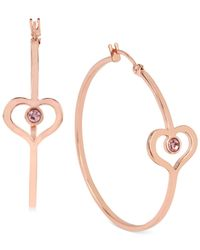 Betsey Johnson | Pink Rose Gold-tone Heart Hoop Earrings | Lyst