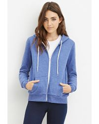 Forever 21 | Blue Zip-up Drawstring Hoodie | Lyst