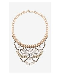 Express | Multicolor Tiered Baguette Stone Bib Necklace | Lyst