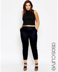 Asos Curve | Blue Linen Cigarette Trouser | Lyst