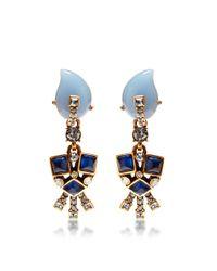 Oscar de la Renta | Blue Resin Flower Earrings | Lyst
