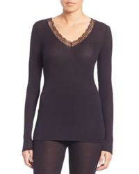 Hanro | Black Lace-trim Ribbed Long-sleeve Top | Lyst
