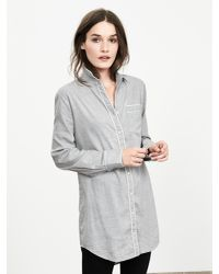 Banana Republic | Gray Piped Flannel Lounge Shirt | Lyst
