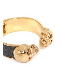 Alexander McQueen | Metallic Crystal Skull Snakeskin Cuff | Lyst
