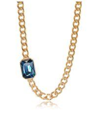 Rebecca - Elizabeth Yellow Gold Plated Bronze Necklace W/ Octagonal Gemstone - Lyst