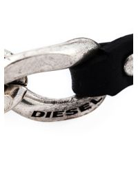 DIESEL | Black Chain Detail Bracelet for Men | Lyst