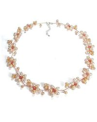 Aeravida - Intricate Pink Pearl Flower Link .925 Silver Necklace - Lyst